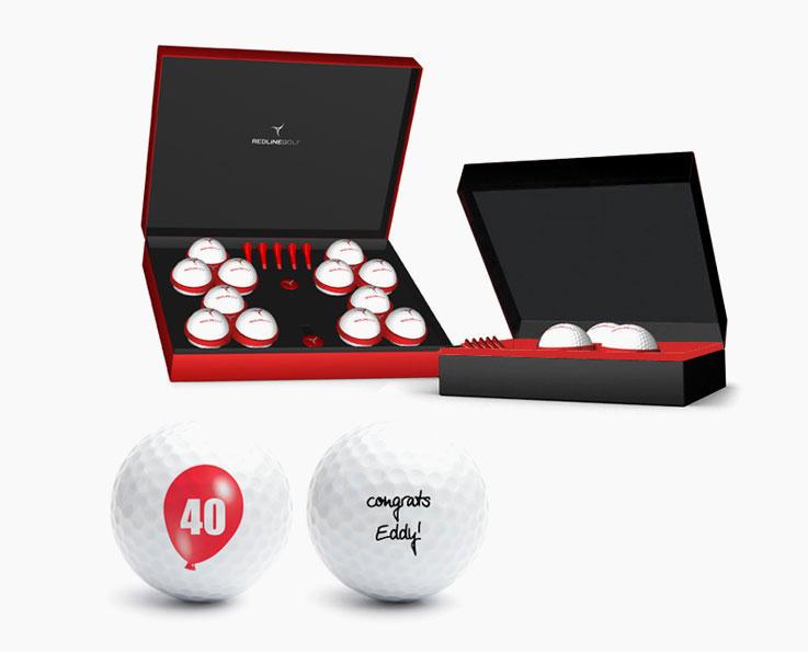 bedrukte golfballen in een luxe golfcadeaubox