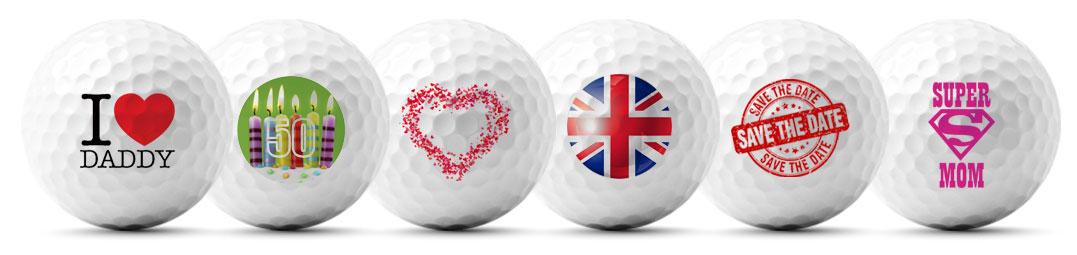 golfcadau met bedrukte golfballen