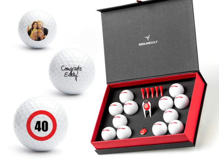 golfcadeau box XL met bedrukte golfballen