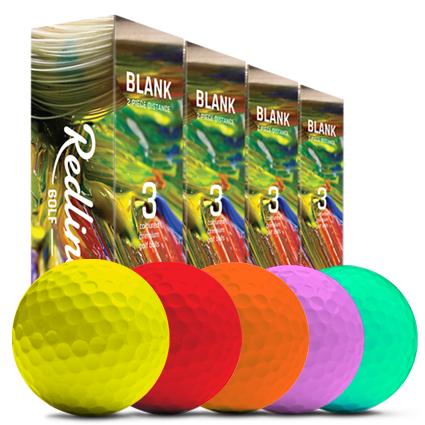 rode golfballen, gele golfballen, roze golfballen, oranje golfballen