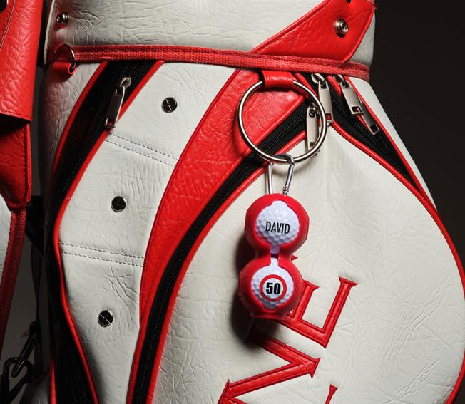 golfcadeau golfballenhanger met bedrukte golfballen
